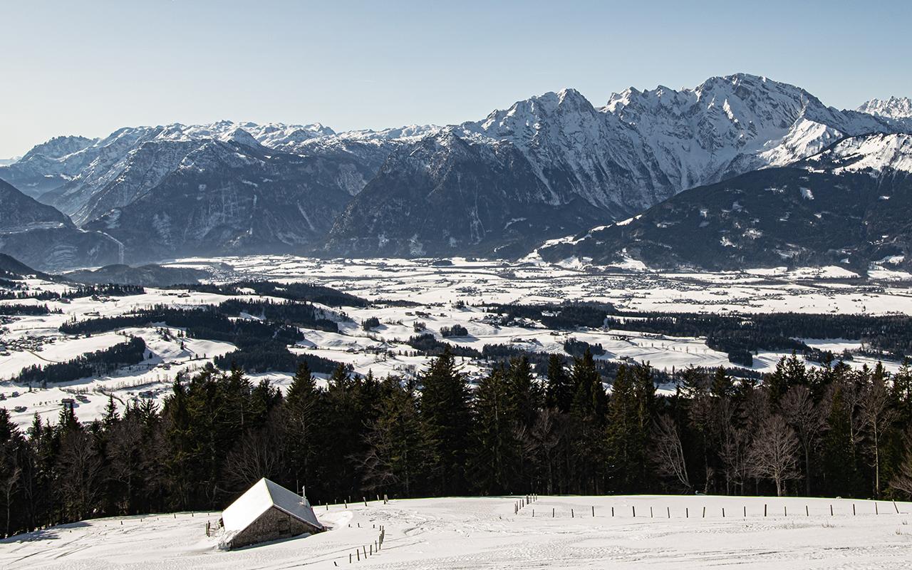 Ausblick vom Schlenken Winter Skitour